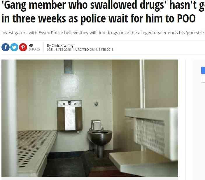【海外発!Breaking News】麻薬を飲み込んだ密売人、意地でも排便せず拘置所で3週間便秘(英) | Techinsight(テックインサイト)|海外セレブ、国内エンタメのオンリーワンをお届けするニュースサイト