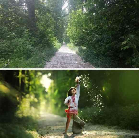 ありふれた場所でもプロのカメラマンの手にかかるとこんなにもファンタジーに。同じ場所での比較写真