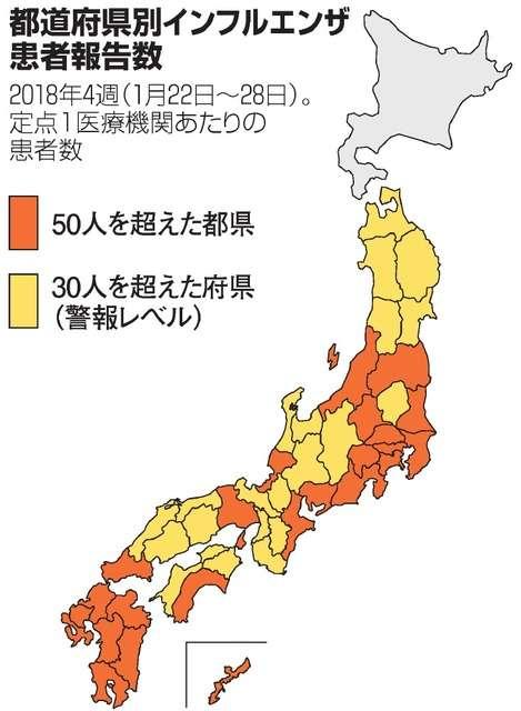 インフル大流行、関東や北日本にも 患者数最多また更新:朝日新聞デジタル