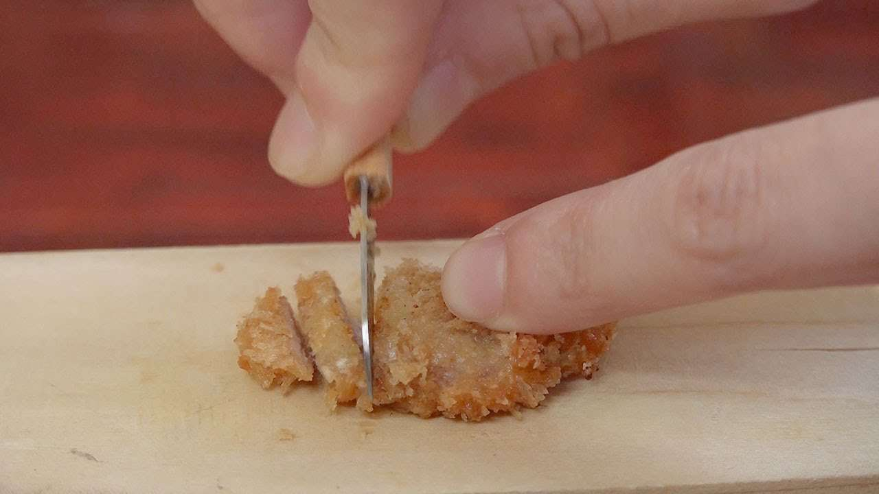 Miniature Food Tonkatu(pork cutlet) 食べれるミニチュア トンカツ - YouTube