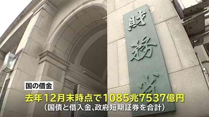 国の借金1085兆円あまり、過去最大に TBS NEWS
