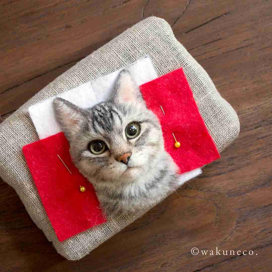 本物そっくりの猫。「わくねこ羊毛フェルト」が凄いと世界中で話題に