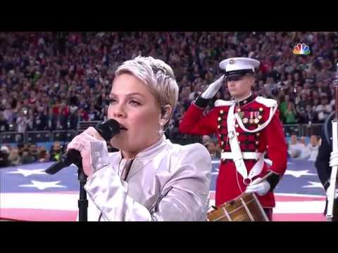 P!nk performing the national anthem at Super Bowl LII - YouTube