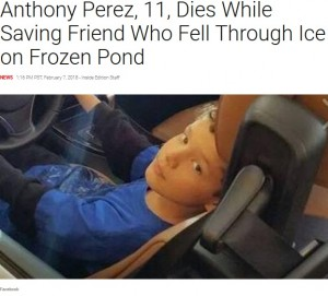 氷の張った池に友人が転落 米国の11歳少年が救うもそのまま力尽きて死亡