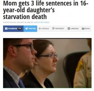 16歳養女、38kgの体にオムツをはかされ衰弱死 鬼の養母に3つの終身刑(米)