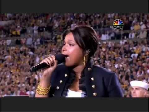 ジェニファー・ハドソン 魂の歌  アメリカ合衆国国歌 - YouTube
