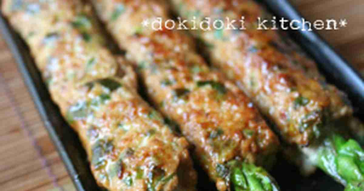 居酒屋気分♡アスパラまるごと♪豚つくね by oNACHIKOo 【クックパッド】 簡単おいしいみんなのレシピが285万品