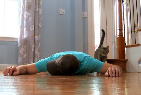 もし愛猫の前で苦しみながら倒れたらどんな反応をするのだろう?→結果は…