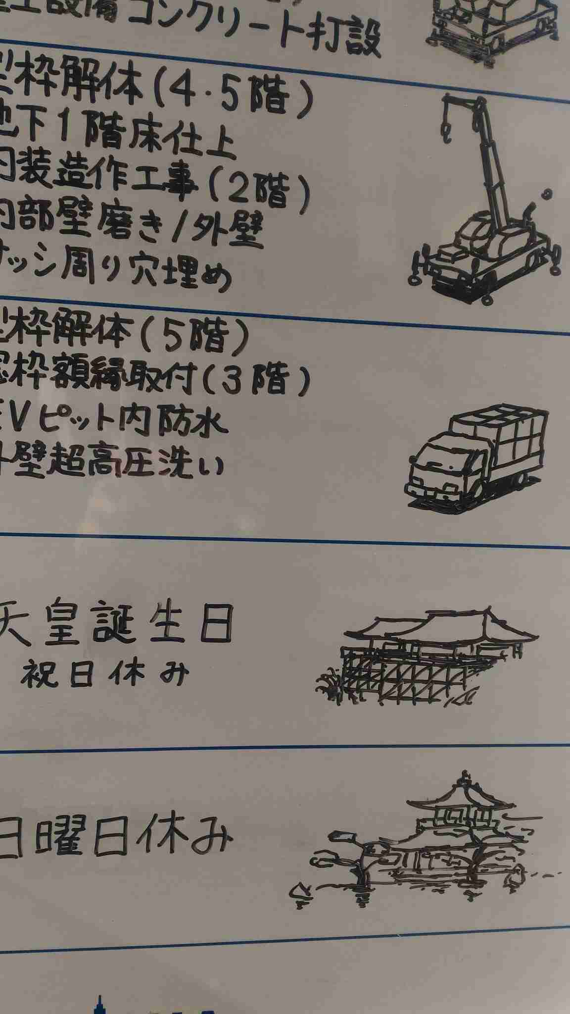 とある工事現場のホワイトボードに描かれた絵が見事すぎる! 「重機なのにかわいく見える」「字もきれい」