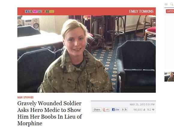 戦場で重傷の兵士が「おっぱいを見せてくれ」と懇願…そのとき女性兵士の決断は!?