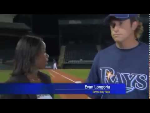 Evan Longoria Catches a ball during interview!! - YouTube