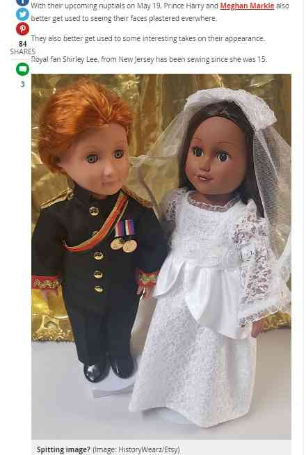 英王室ファンが制作した「ヘンリー王子&メーガンさん人形」 肌の色で物議