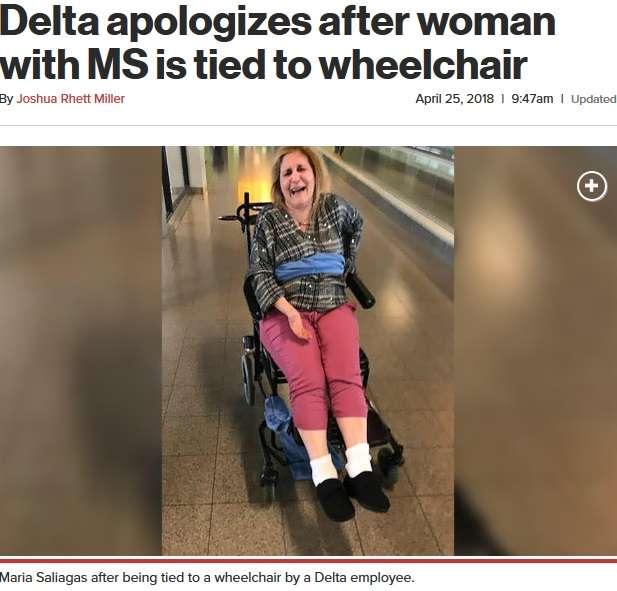障がい者女性を車椅子に縛り付けたデルタ航空、家族の苦情に反論(米)