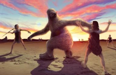 古代人対巨大ナマケモノ、死闘の様子が化石で判明