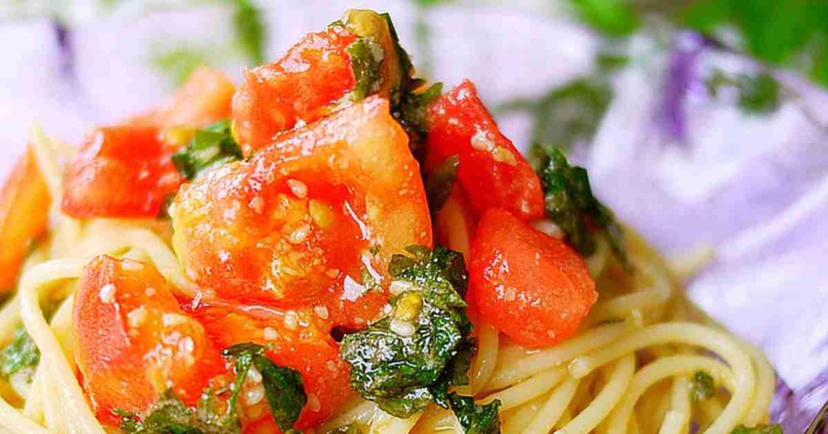 超シンプル!トマトと大葉で和風冷製パスタ by putimiko 【クックパッド】 簡単おいしいみんなのレシピが287万品