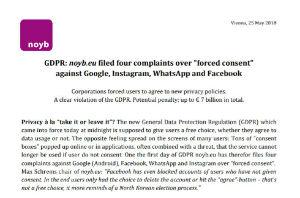 EUの無茶苦茶なプライバシー保護規則「GDPR」でさっそくGoogleとFacebookが提訴される 5000億円の罰金 | 保守速報