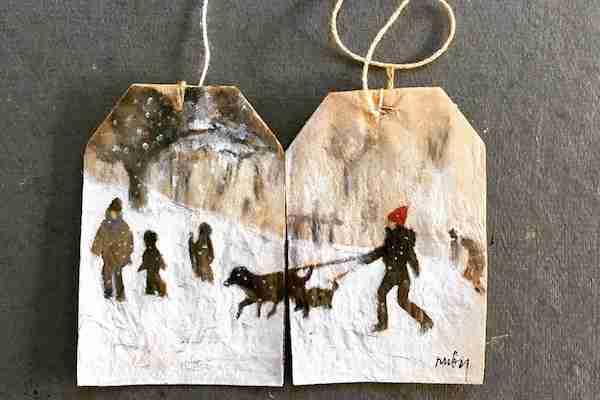 使用済みティーバッグをキャンバスにした絵画が素敵