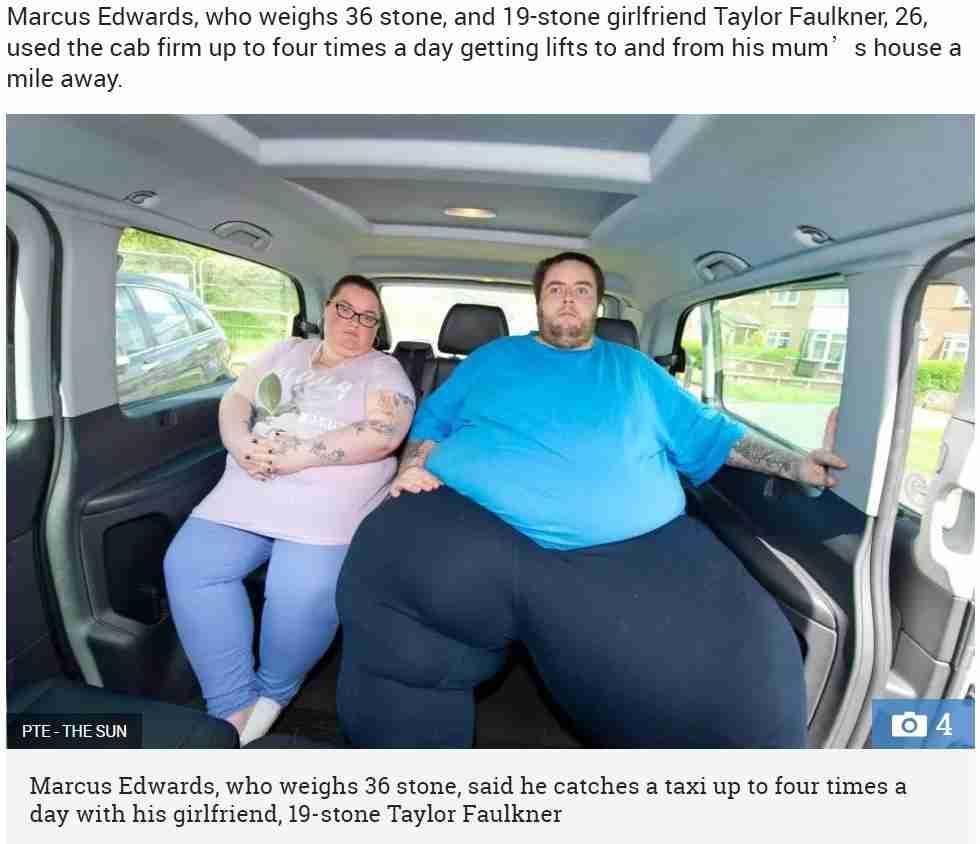 総体重350キロのカップル タクシー会社から「今後の利用はお断り」