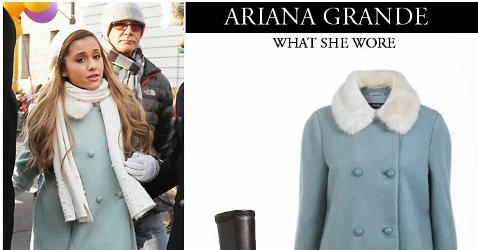 WHAT SHE WORE: Ariana Grande in light blue pea coat with black leather over the knee boots in New York on November 23 ~ I want her style - What celebrities wore and where to buy it. Celebrity Style