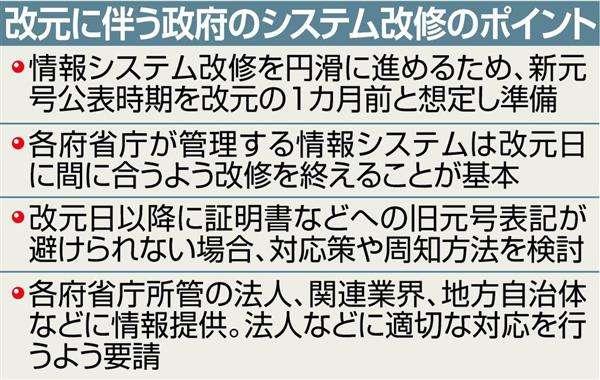 新元号公表は平成31年4月1日を想定 改元の1カ月前 情報システム改修期間見込み