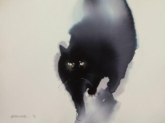 黒猫と絵は相性がいい。水墨画風なタッチで猫の質感を見事に表現したモフモフしたくなる絵 ※新作追加 : カラパイア