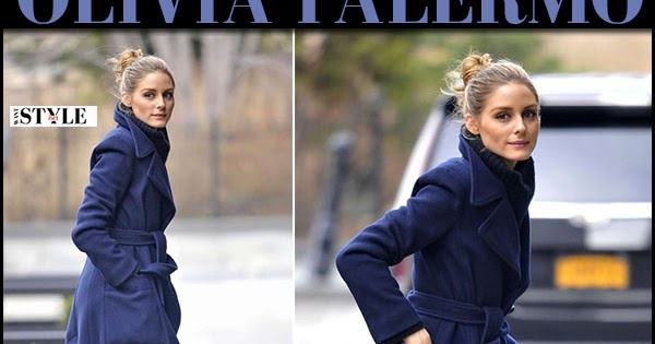 Olivia Palermo in navy blue coat and black patent boots in New York January 2017 ~ I want her style - What celebrities wore and where to buy it. Celebrity Style