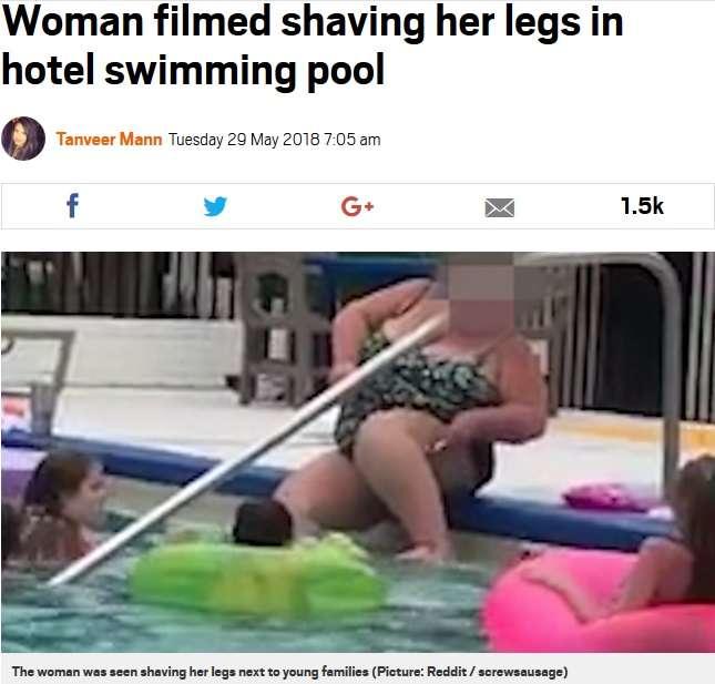 【海外発!Breaking News】リゾートホテルのプールで脚のムダ毛処理! 女性の映像に非難殺到(米) | Techinsight(テックインサイト)|海外セレブ、国内エンタメのオンリーワンをお届けするニュースサイト