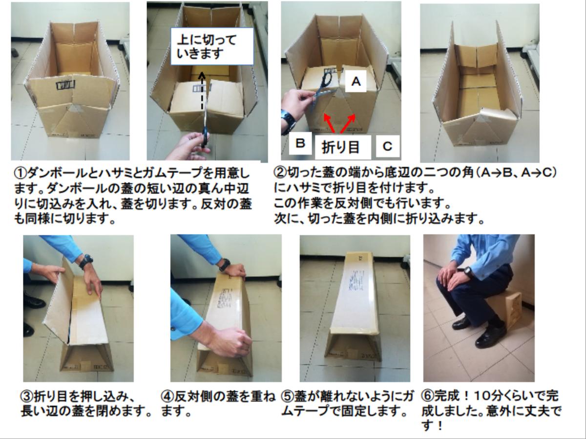 段ボールとハサミとガムテープ 震災の時に役立つイスの作り方