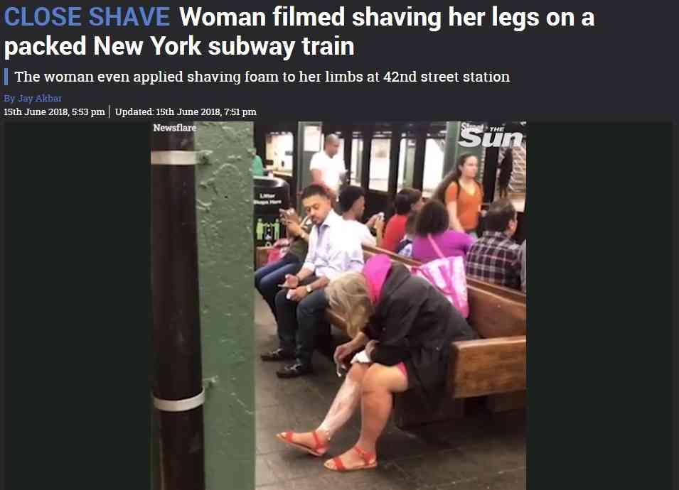 【海外発!Breaking News】米NYの地下鉄駅ホームですね毛を剃る女性<動画あり>   Techinsight(テックインサイト) 海外セレブ、国内エンタメのオンリーワンをお届けするニュースサイト