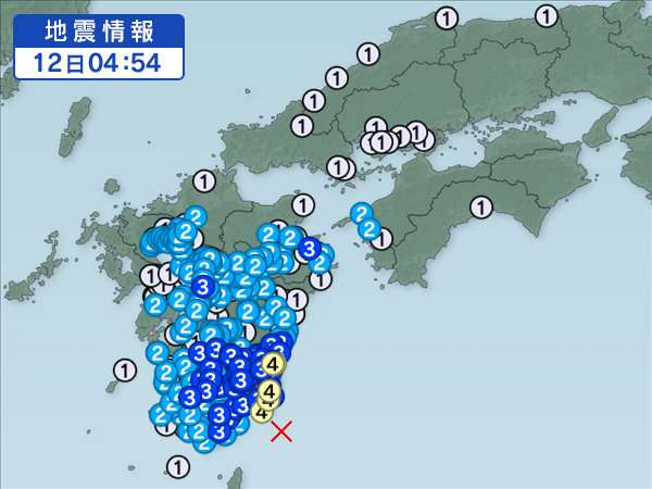 宮崎県南部平野部で震度4 千葉県南部、千葉県北東部で震度3 どちらも津波の心配なし