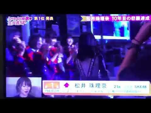 AKB総選挙2018  1位松井珠理奈 スピーチ - YouTube