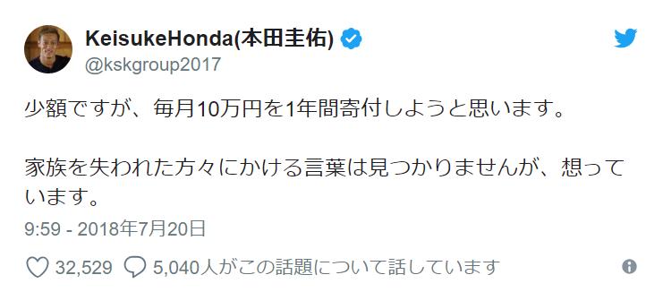 """本田圭佑、""""毎月10万円を1年間寄付""""することを明らかに"""
