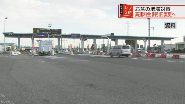 お盆の渋滞対策 高速道路料金 割引日変更し交通量分散へ   NHKニュース