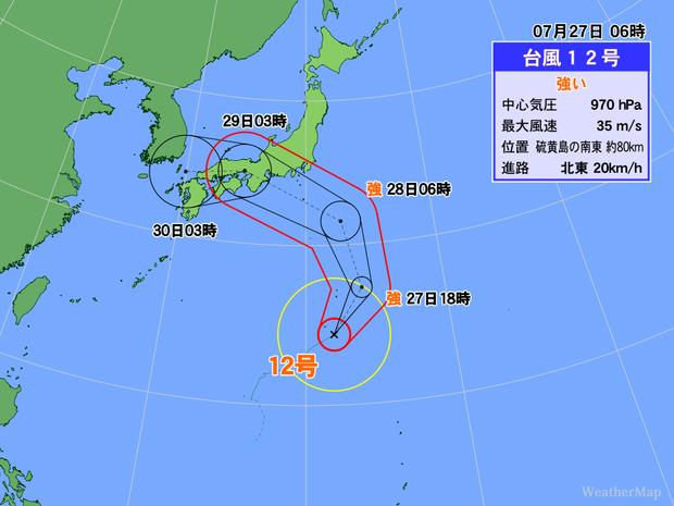 台風12号の進路予想に惑わされないで!関東地方は予想雨量に注意 (2018年7月27日掲載) - ライブドアニュース