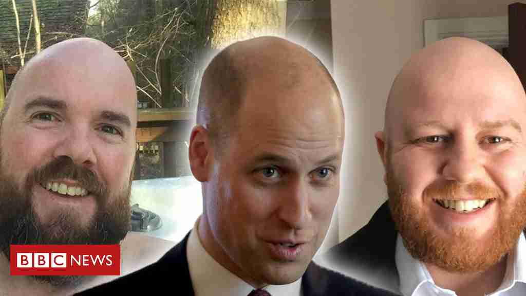 Prince William welcomed to 'the bald club' by serving members - BBC News
