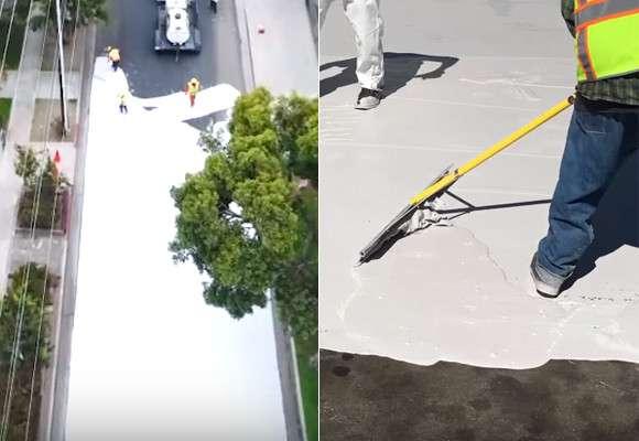 こう暑くっちゃよ〜、よし、道路まるごと白く塗っちゃえ!で、実際に効果があった件(アメリカ・ロサンゼルス) : カラパイア