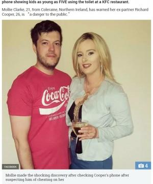 KFCのトイレで盗撮していた夫を妻が通報(北アイルランド)