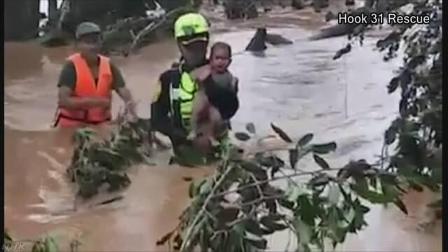 ラオスのダム決壊 赤ちゃん含む家族ら救助 | NHKニュース