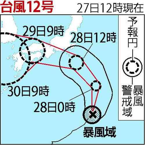 強い台風12号が本州に上陸する見通し 気象庁が注意喚起「緊張感を」 (2018年7月27日掲載) - ライブドアニュース