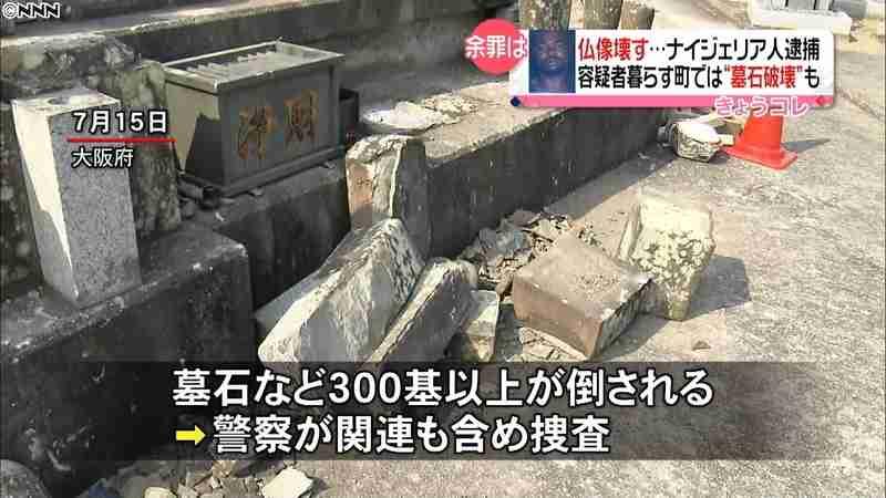 仏像壊しナイジェリア人男を逮捕 余罪も…(日本テレビ系(NNN)) - Yahoo!ニュース