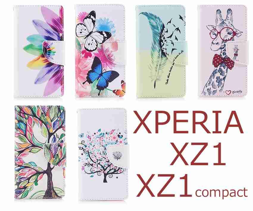 【楽天市場】Xperia XZ1 手帳型ケース Xperia XZ1 compact ケース レザー XperiaXZ1 手帳型カバー スマホケース SO-01K SO-02K SOV36 エクスペリアXZ1 カバー 手帳型 エクスペリアXZ1 コンパクト カバー かわいい キリン レインボー 花柄 蝶々 羽 個性的 木 カラフル 動物 デザイン:iCaseCreative 村雲