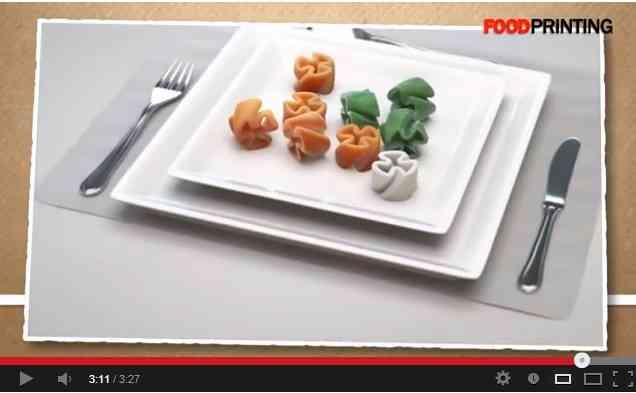 3Dプリンターで食べ物を印刷へ、既存の食事を置き換える可能性もあり