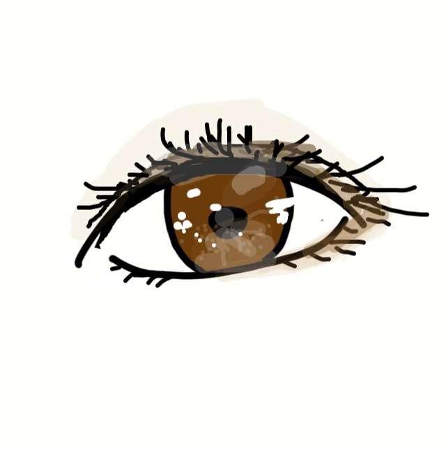 瞳の絵にアイメイクをするトピ