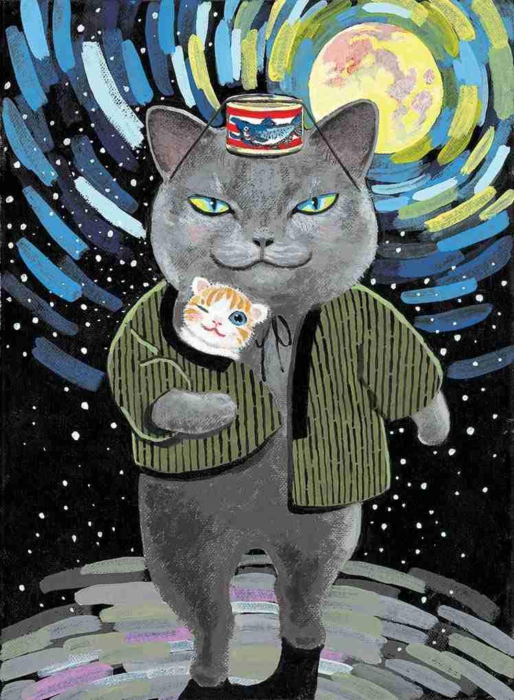 猫の絵を貼るトピ