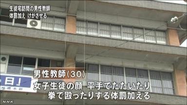 中学教師が生徒の自宅訪問で体罰 NHKニュース