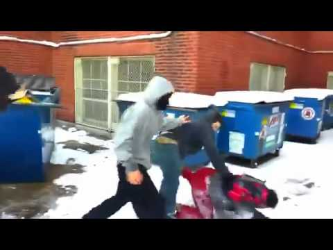 FULL VIDEO helpless asian man attacked and jumped by 7 others behind school - YouTube