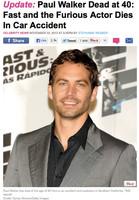 『ワイルド・スピード』シリーズのポール・ウォーカーが事故死 (女性自身) - Yahoo!ニュース