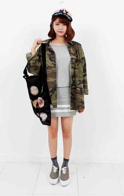 ✡韓国女子の迷彩柄ファッション✡ 韓国ファッション★may lapin(メイラパン)