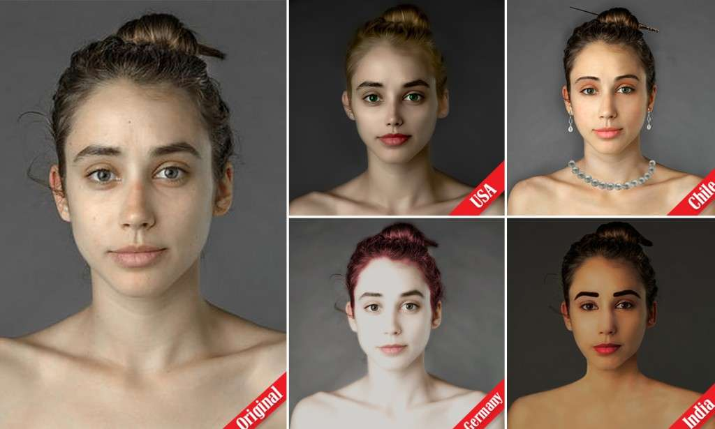 'What does the perfect face look like? 'Ideal' global beauty standards revealed after woman asks 25 countries to Photoshop her image | Mail Online