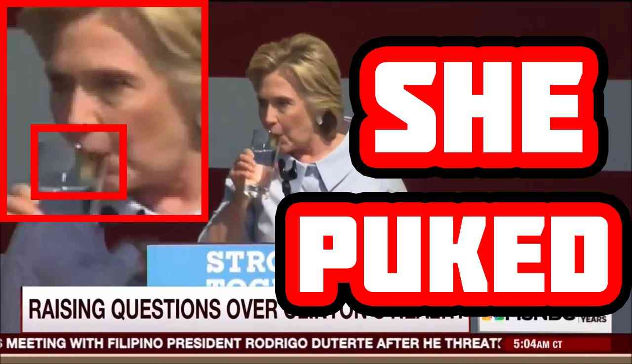 Hillary Clinton Coughs & Vomits Green Substance at Speech in Cleveland Ohio - YouTube